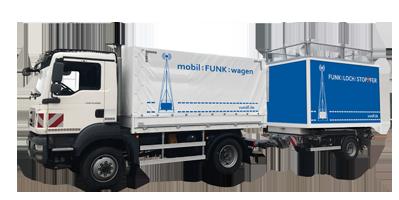 mobilkunkcontainer transport mit LKW der Firma Vetters und Freywald, Mobilkunk Container, Mobilfunkcontainer, mobile Sendestationen