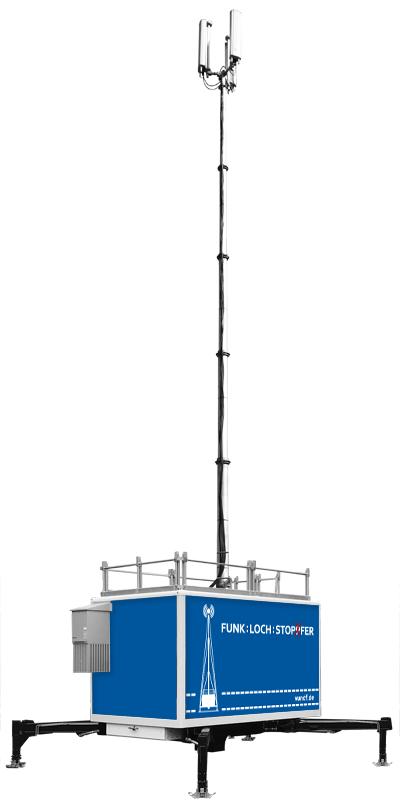 Grafik vom aufgebauten Mobilfunk Container, Mobilkunk Container, Mobilfunkcontainer, mobile Sendestationen